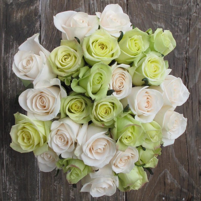 Lucky Charmed Green and White Rose Bouquet from The Bouqs - as seen on BrendasWeddingBlog.com