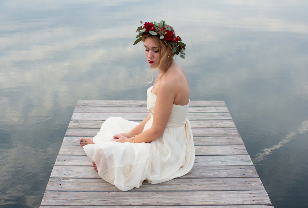A romantic bridal inspiration styled shoot with a handmade floral crown / photo by Spark Photography