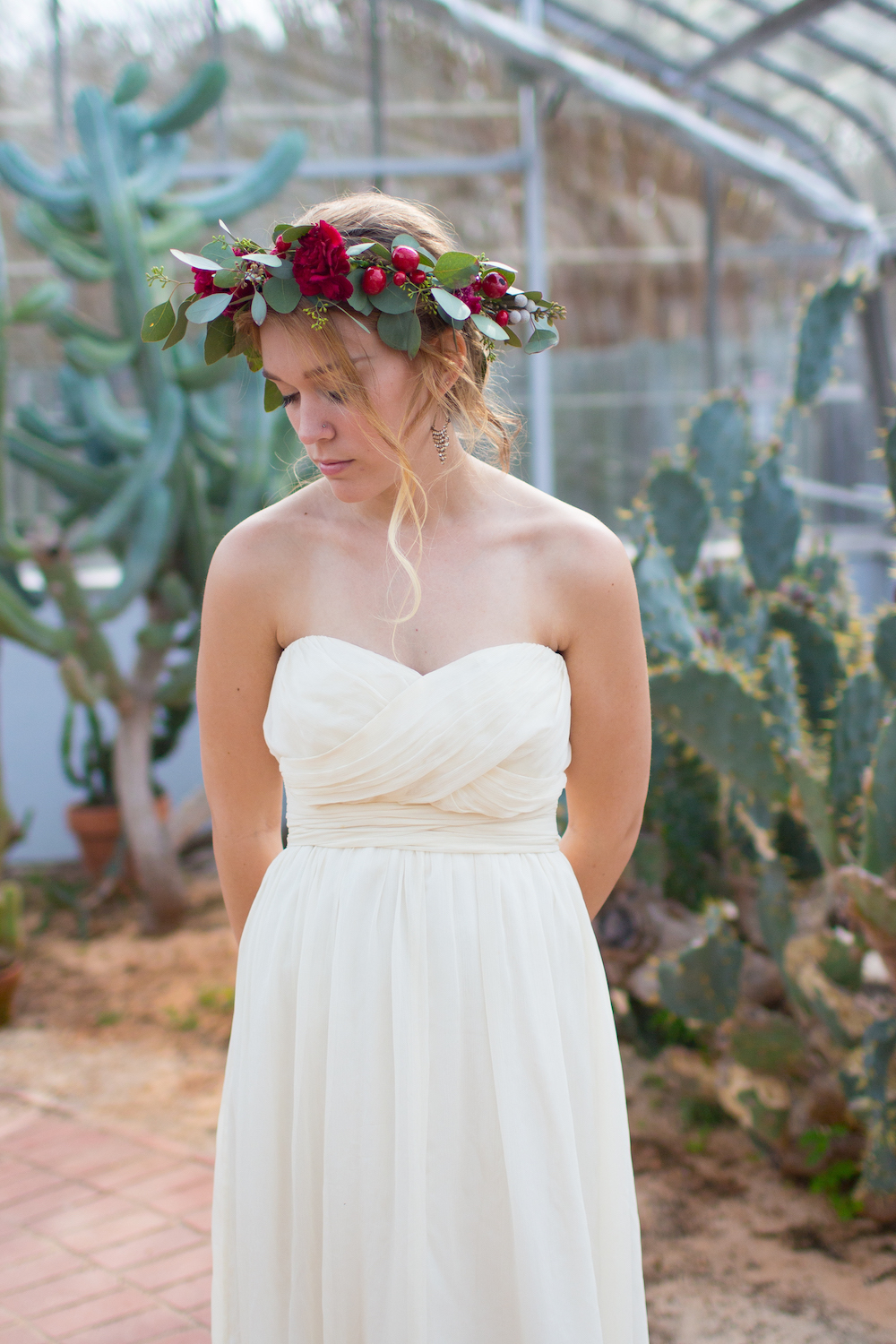 A romantic bridal inspiration styled shoot with a handmade DIY floral crown + a BHLDN bridal gown / photo by Spark Photography