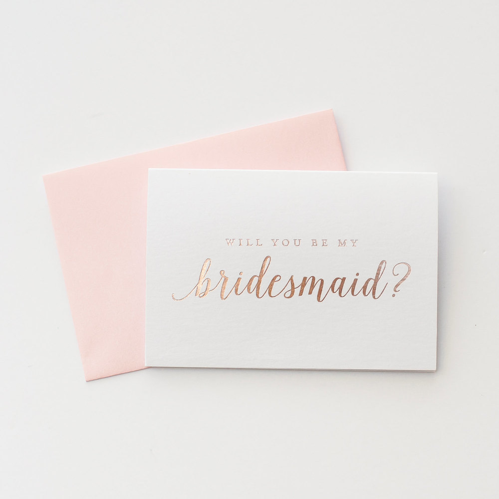 "SHOP HERE ~ <b><a rel=""nofollow"" href=""http://tidd.ly/be63b3b9"" target=""blank"">Rose Gold Foil Will You Be My Bridesmaid card</a></b>"