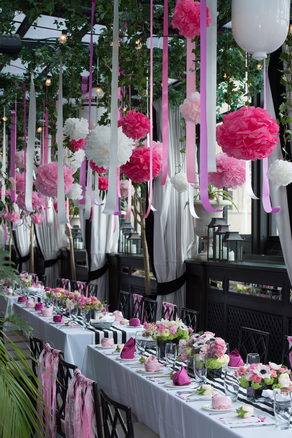 A garden inspired bridal shower in nyc at gramercy park for Terrace party decoration