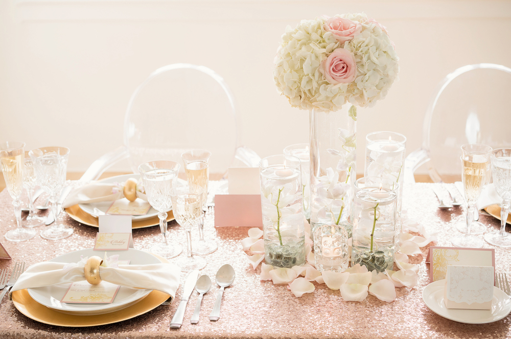 Romantic Wedding Inspiration with blush sequins and flowers floating in Water Centerpiece / by Madeline Weddings and Events / photo by AMC Studio