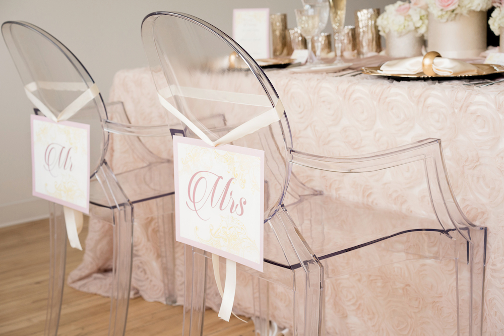 LOVE these clear lucite chairs from a Romantic Wedding Inspiration Styled Shoot with Blush Sequins + a Dramatic Orchid Centerpiece
