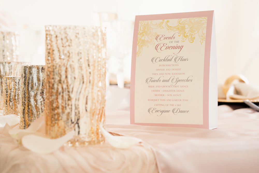 Wedding Program Beautiful Place Setting with Gold Charger from a Romantic Wedding Inspired Styled Shoot