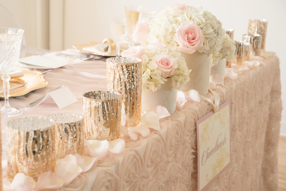 Gorgeous Sparkly Table Setting from the Sweetheart Table / Romantic Wedding Inspired Styled Shoot