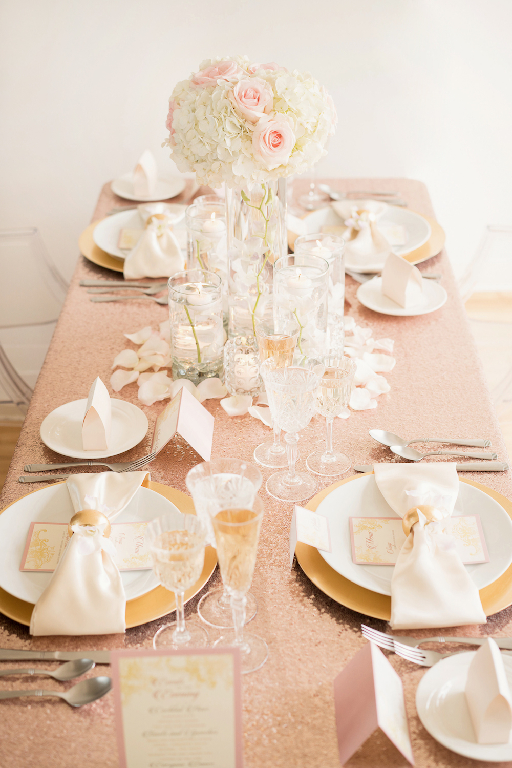 Gorgeous Sparkly Table Setting from a Romantic Wedding Inspired Styled Shoot & Romantic Wedding Inspiration with Blush Sequins + a Dramatic Orchid ...