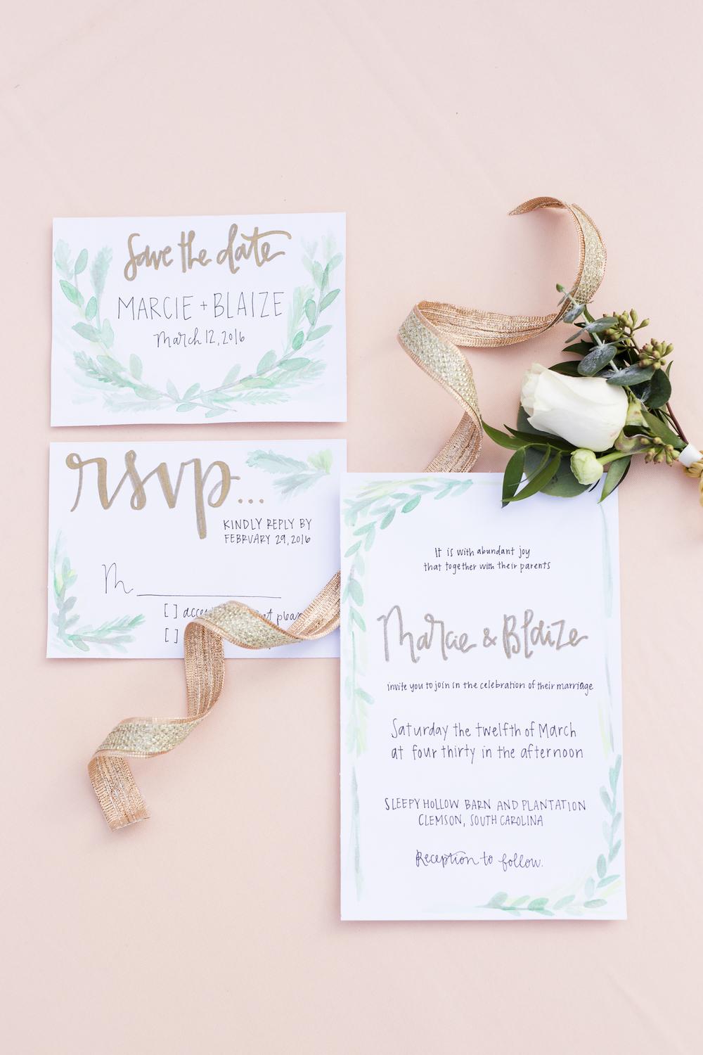 LOVE this Invitation Suite with pops of teal color / designed by Pretty Words by Erin / photo by Kevyn Dixon Photo