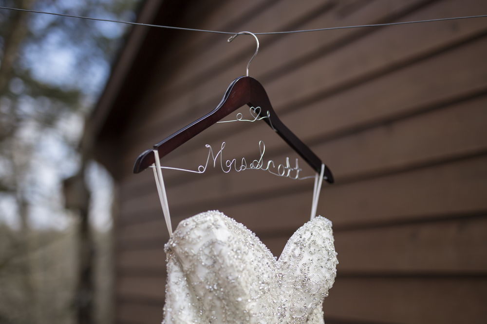 Beaded Wedding Gown with Personalized Bridal Hanger / Gorgeous Cascading Wedding Bouquet / designed by Kara Nash Designs / photo by Kevyn Dixon Photo