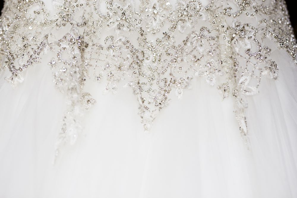 Stunning beading on the wedding dress / Gorgeous Cascading Wedding Bouquet / designed by Kara Nash Designs / photo by Kevyn Dixon Photo