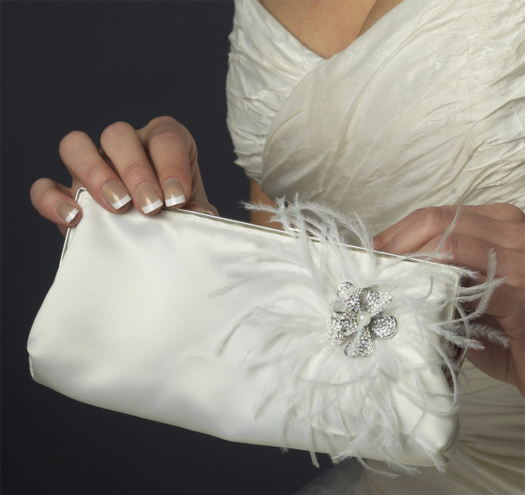 Crystal Brooch and Feather Accented Bridal Purse