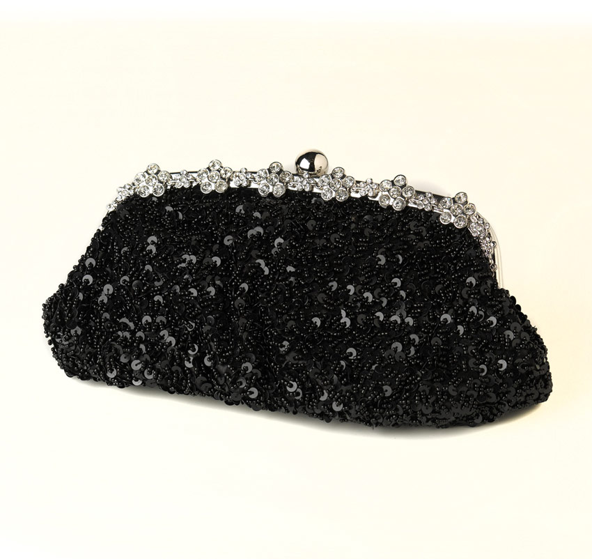 Sparkling Sequins and Beads Black Evening Bag