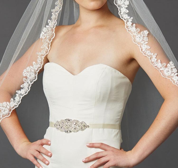 Crystal and Pearl Vintage Applique Bridal Sash or Headband