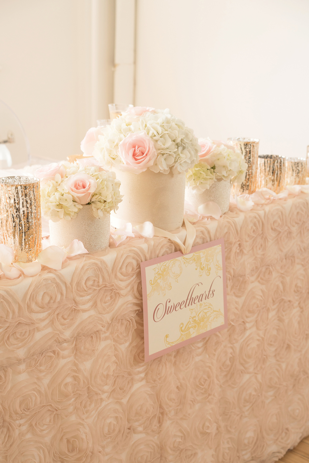 Blush Pink Sweetheart Wedding Tablescape with Flowers and Candles / design by Madeline's Weddings and Events / photo by AMC Studio