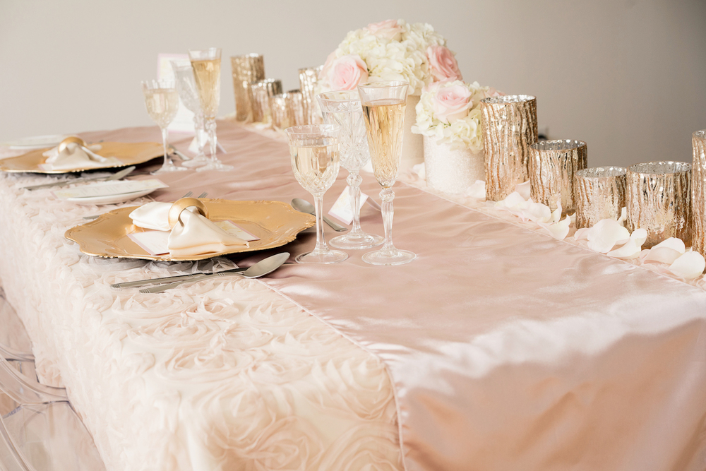 Blush Pink Sweetheart Wedding Tablesetting with Fancy Glassware and Gold Dishes / design by Madeline's Weddings and Events / photo by AMC Studio