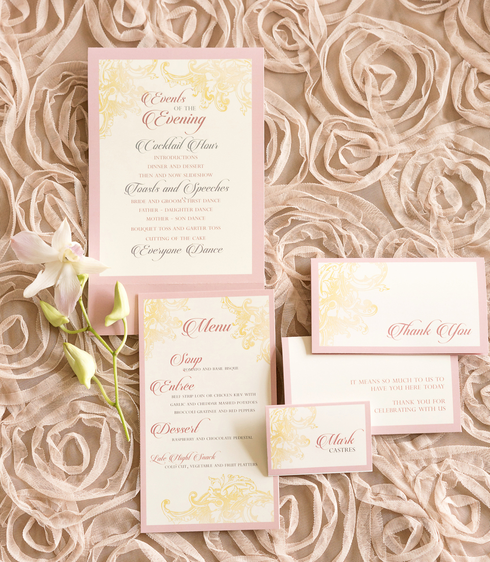 Blush Pink and Gold Wedding Invitation Suite / design by Madeline's Weddings and Events / photo by AMC Studio