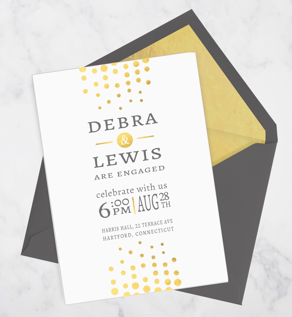 Gold Foil Engagement Invitation with Confetti from bonhomieDESIGN