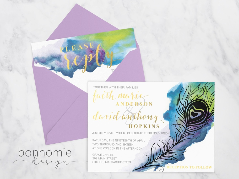Watercolor Gold Peacock Feather Invitation Suite from bonhomieDESIGN