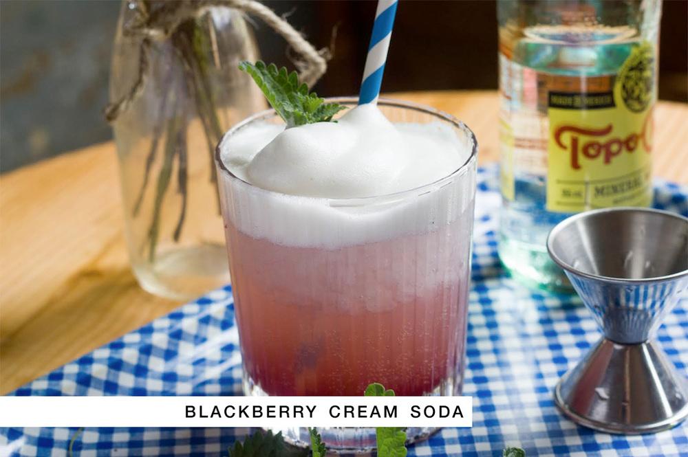 Signature Wedding Cocktail + Recipe - Blackberry Cream Soda with Marshmallows