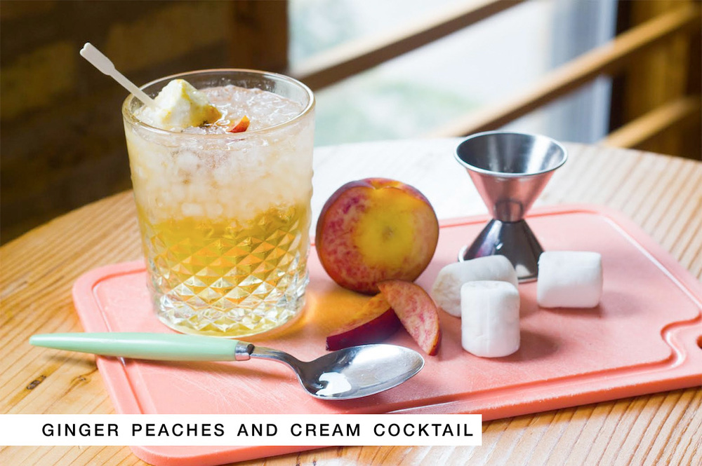 Signature Wedding Cocktail + Recipe : Ginger Peaches and Cream with Marshmallows