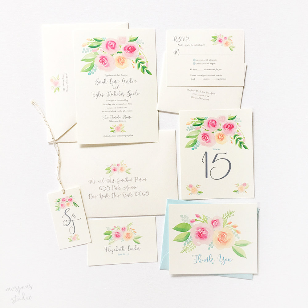Mospens Studio : Custom Wedding Invitations with Hand-Painted ...