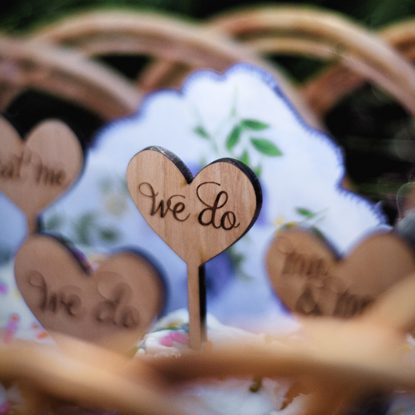 Handmade Wooden Heart Cupcake Toppers / photo by Autumn Noel Photography
