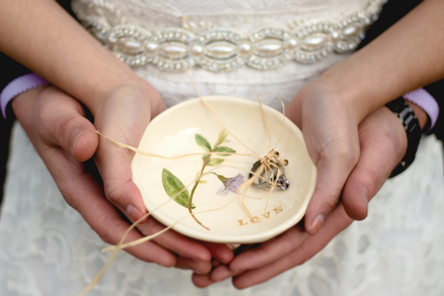 Pretty Ring Bearer Bowl from a California Wedding Elopement / photo by Autumn Noel Photography