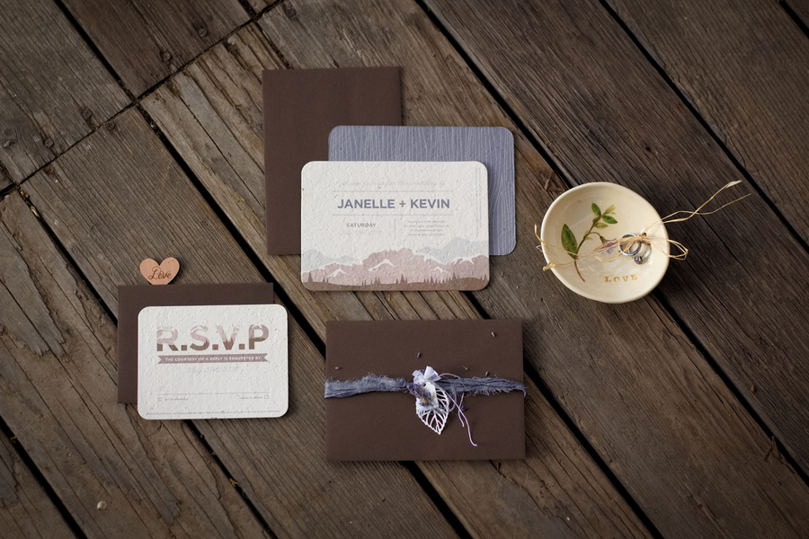 Recycled Paper Wedding Invitations infused with Wildflower Seeds / photo by Autumn Noel Photography