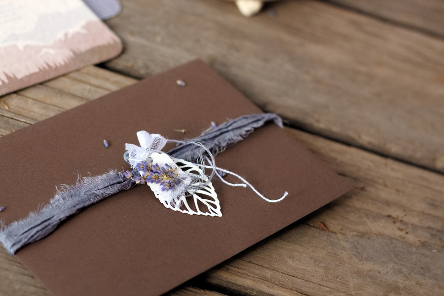 Pretty Envelope Liner for Recycled Paper Wedding Invitations infused with Wildflower Seeds / photo by Autumn Noel Photography