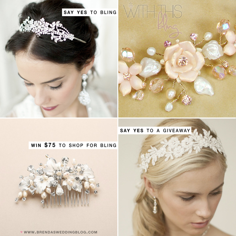 Win a $75 shopping spree for your favorite sparkling bridal accessories from With this Bling on Brenda's Wedding Blog