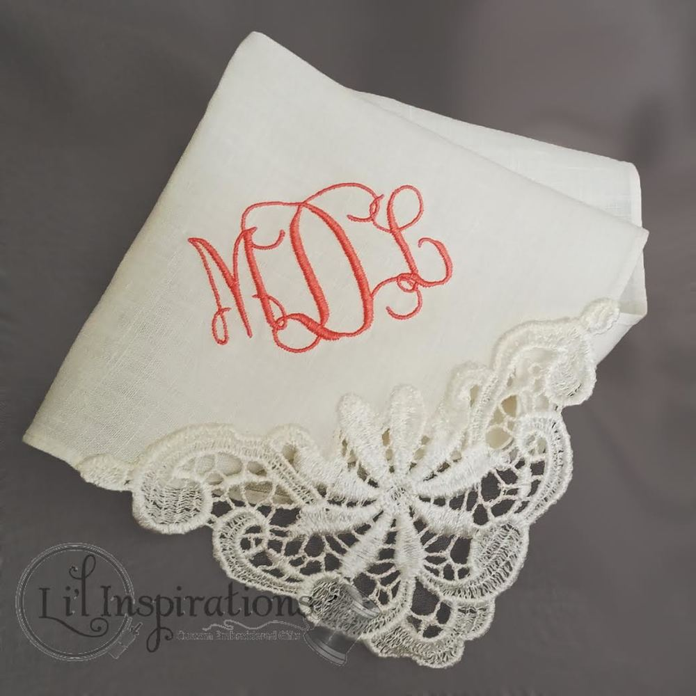 Personalized Wedding Hankie with Monogram / from Li'l Inspirations