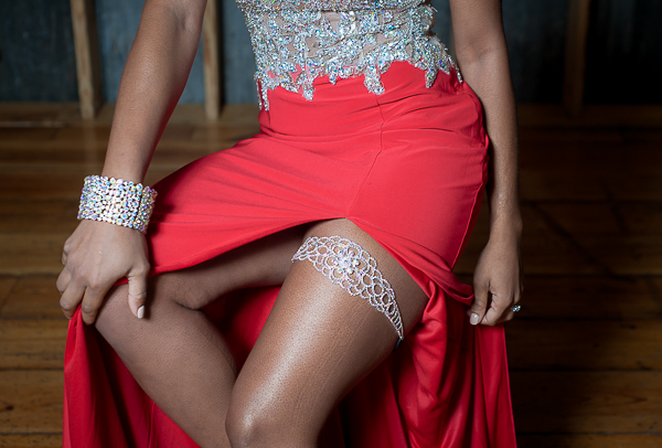 Sparkly Bridal Garter from an Urban Glam Wedding Ideas in Red and Blue / photo by Lavishly Lux Studio