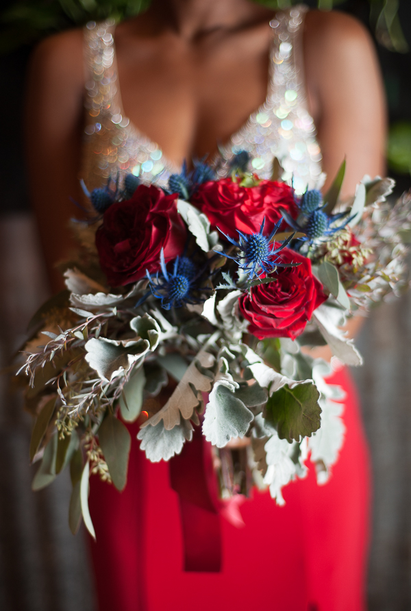 Stunning Red and Blue Urban Glam Wedding Bouquet with Dusty Miller / photo by Lavishly Lux Studio
