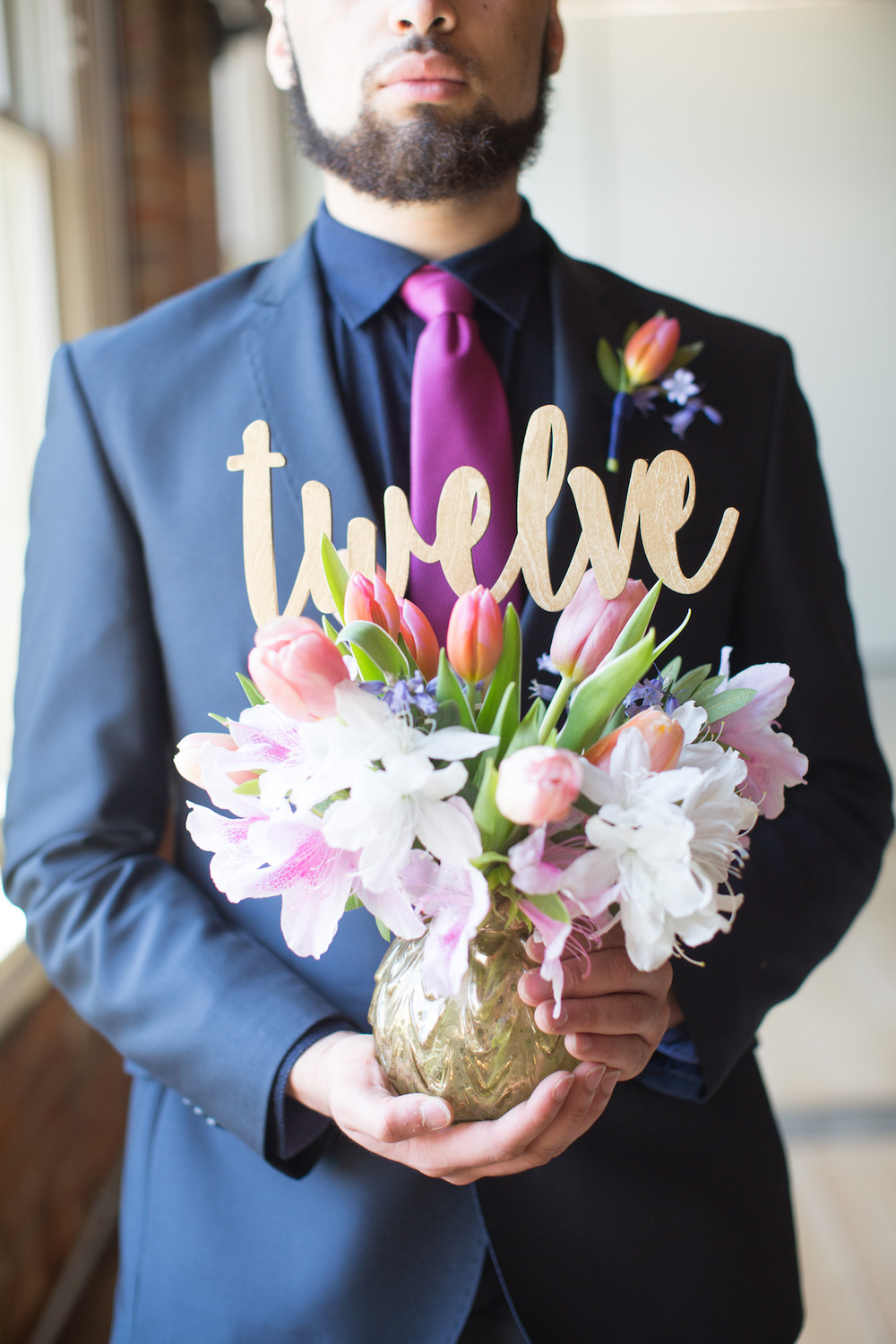 Handmade Table Number Decoration for Weddings / Florals by EightTreeStreet / Photography by Amy Nicole