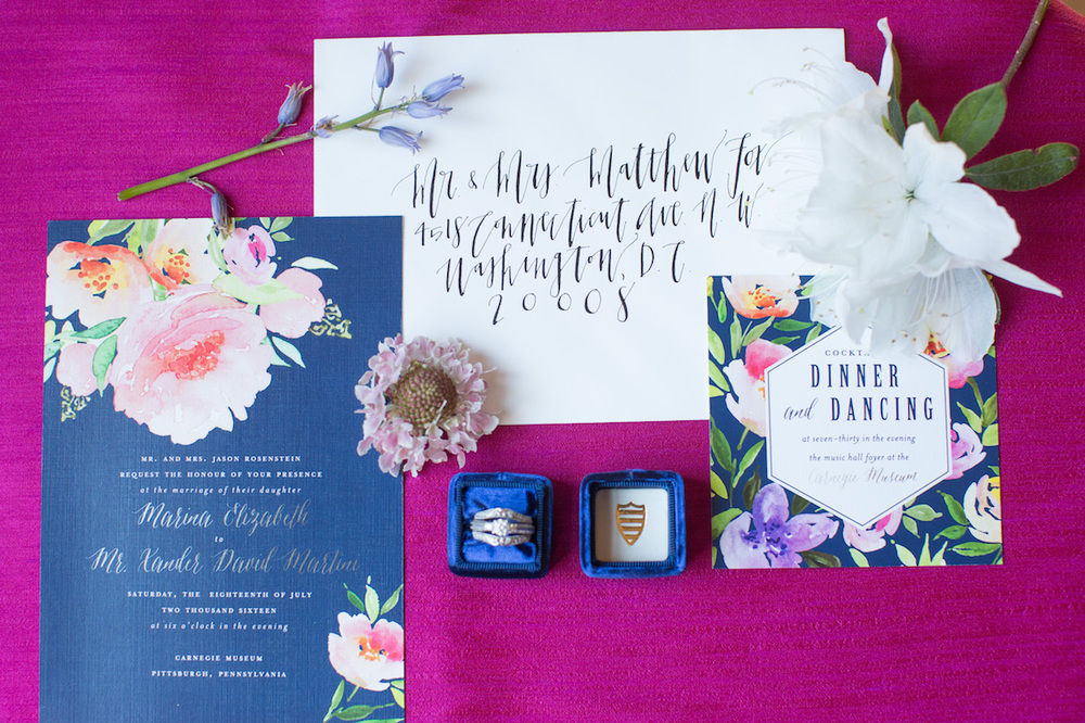 Floral Wedding Invitation Suite from Blush Paper Co + Envelope featuring Hand Calligraphy / Photography by Amy Nicole