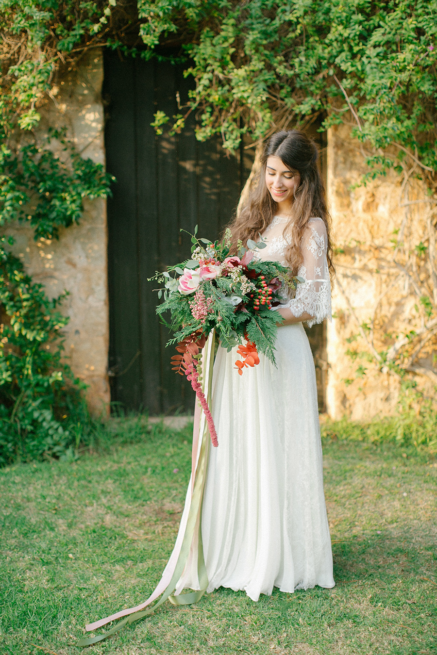 Gorgeous Boho Chic Inspired Wedding Bouquet and Lace Dress - from Greece / coordinated by Love 4 Wed / photo by Anna Roussos Photography