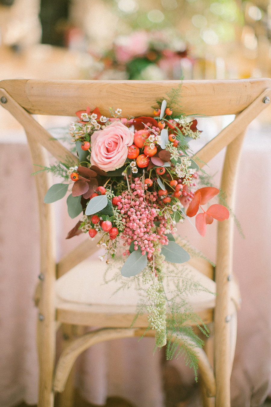 Boho Chic Inspired Wedding Chair Decor / styled shoot coordinated by Love 4 Wed / photo by Anna Roussos Photography