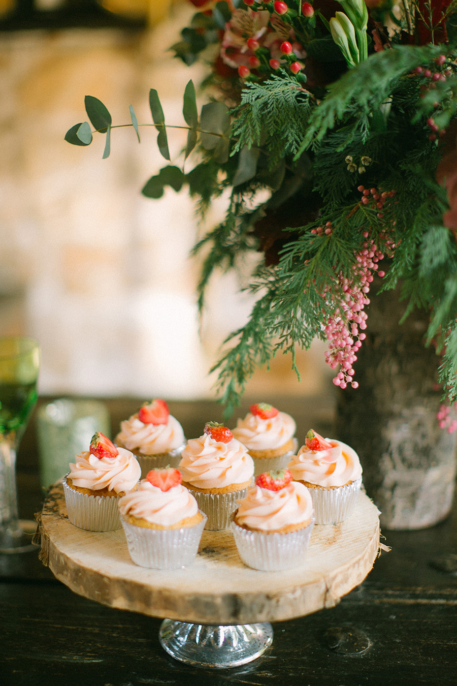 Boho Chic Inspired Wedding - Strawberry Topped Cupcakes / styled shoot coordinated by Love 4 Wed / photo by Anna Roussos Photography