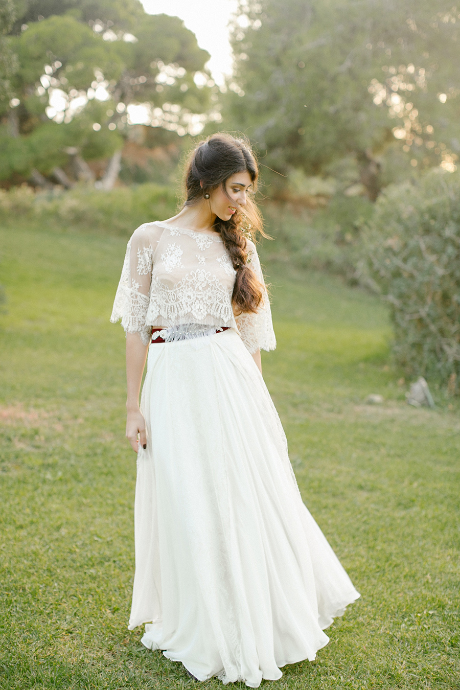 Greece Inspired Wedding Dress with French Chantilly lace / styled shoot coordinated by Love 4 Wed / photo by Anna Roussos Photography