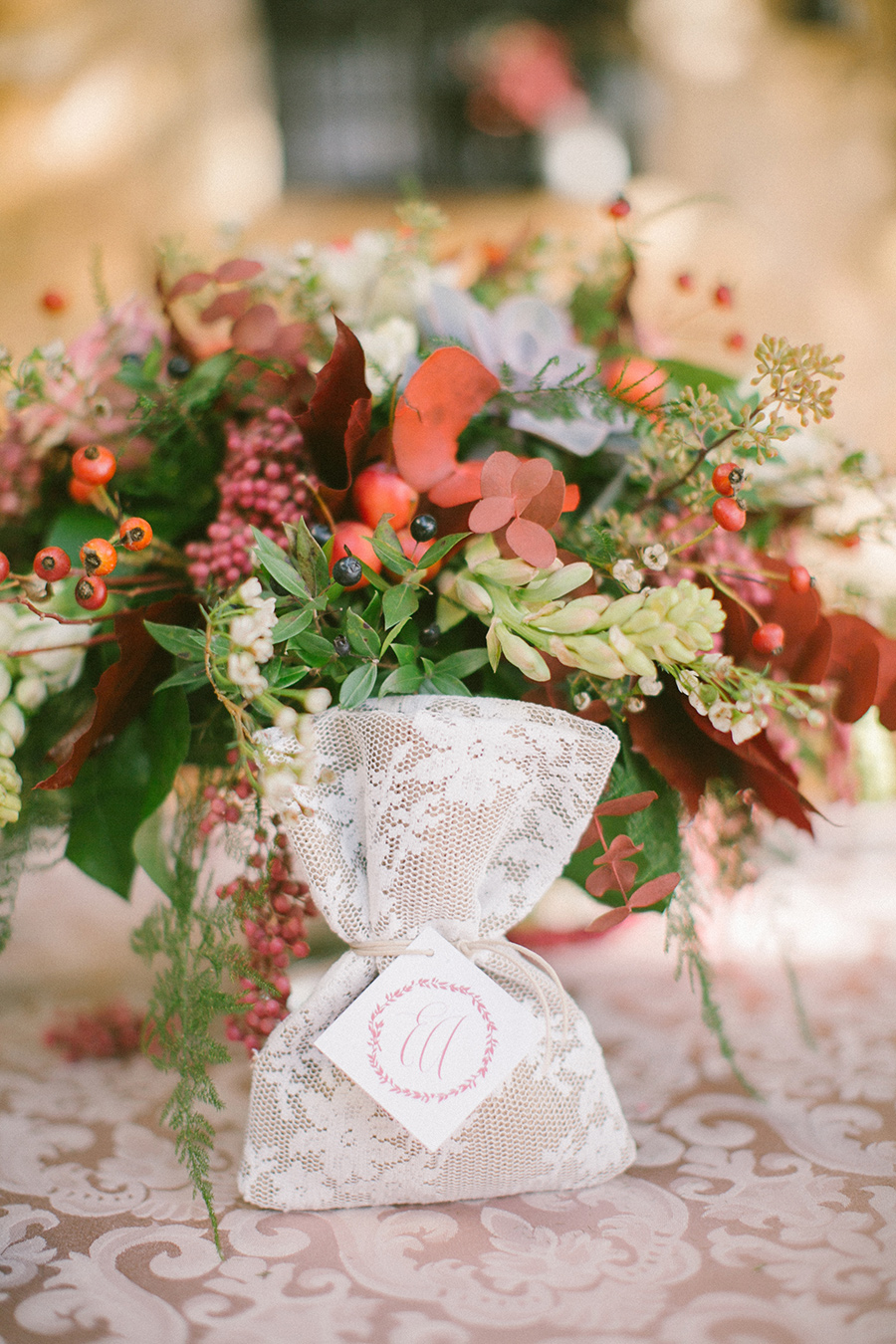Boho Chic Inspired Wedding Floral Design with a Sachet Favor / styled shoot coordinated by Love 4 Wed / photo by Anna Roussos Photography