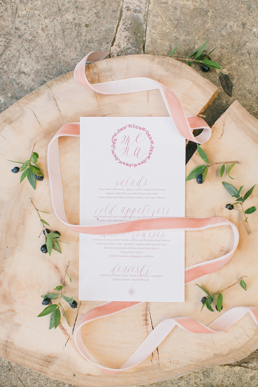 Boho Chic Inspired Wedding Menu with burgundy details / styled shoot coordinated by Love 4 Wed / photo by Anna Roussos Photography