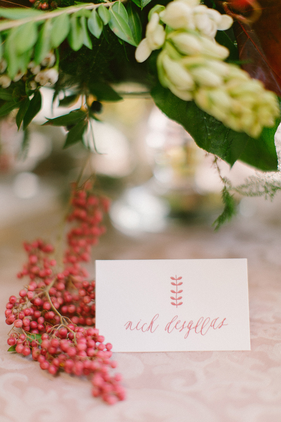 Boho Chic Inspired Wedding Place Cards with burgundy details / styled shoot coordinated by Love 4 Wed / photo by Anna Roussos Photography