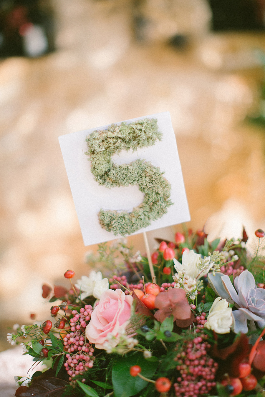 Boho Chic Inspired Wedding Table Number with Moss / styled shoot coordinated by Love 4 Wed / photo by Anna Roussos Photography