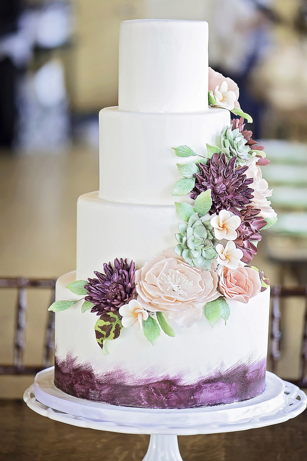 Gorgeous 4 Tier Wedding Cake with Sugar Flowers and Succulents / photo by Maria Nicole Photography