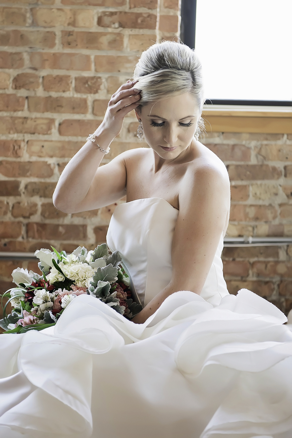 Beautiful Bride in a Custom Made Edith Elan Wedding Gown in Chicago / photo by Maria Nicole Photography