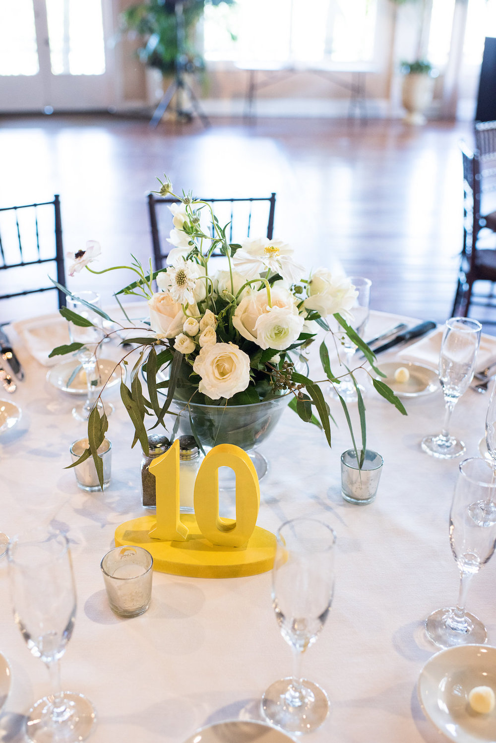 Florida Wedding Tablescape with Yellow Table Number Sign / Séverine Photography