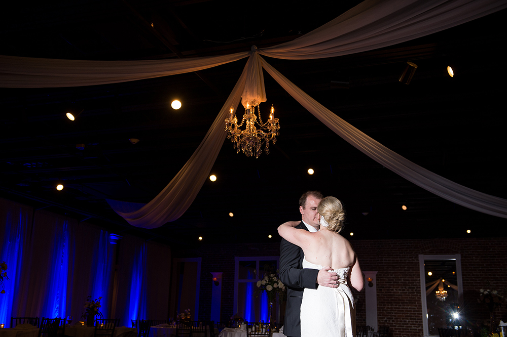 Bride and Groom First Dance under a Crystal Chandelier / Séverine Photography
