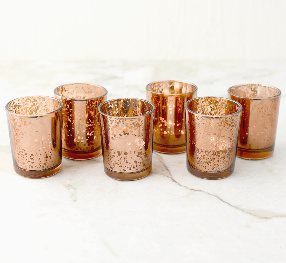 Rose Gold Wedding Accents + Decorations / from 14 Ways Real Brides Plan to Sparkle on their Wedding Day