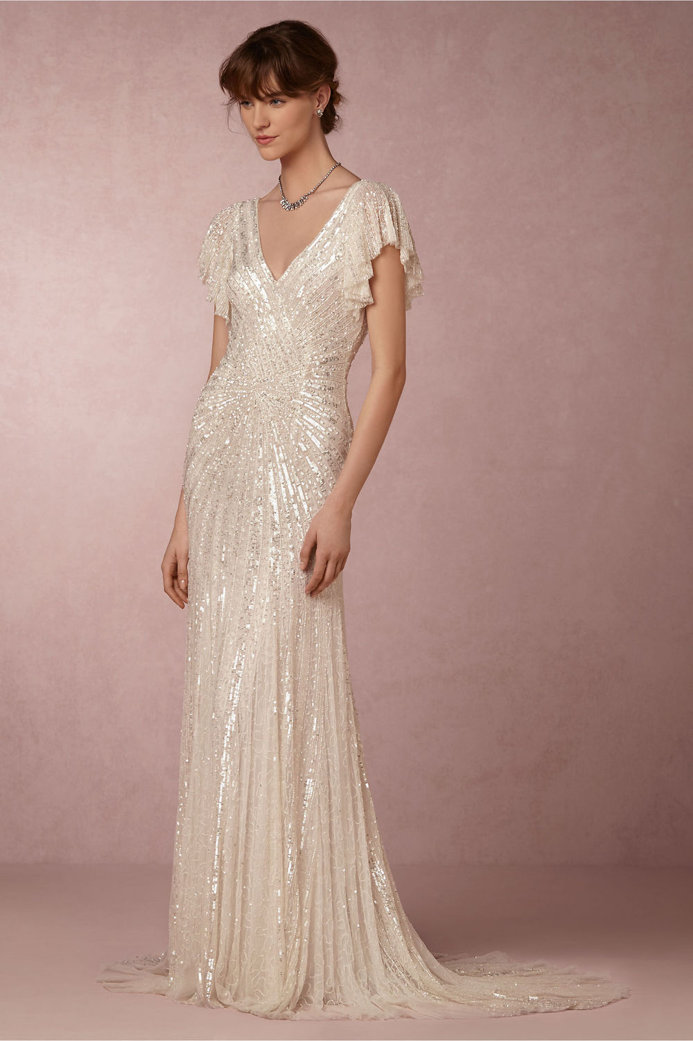 Gorgeous Sequined Cibella Wedding Gown from BHLDN / from 14 Ways Real Brides Plan to Sparkle on their Wedding Day