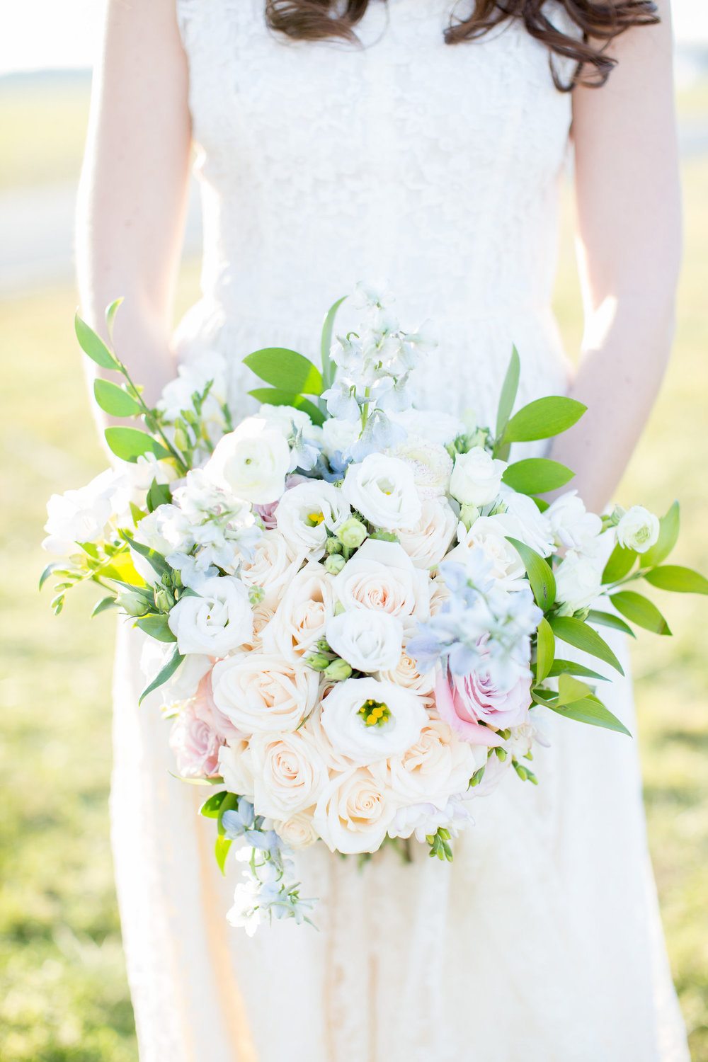 Pretty Pastel Bridal Bouquet with pinks and blues / by EightTreeStreet Floral
