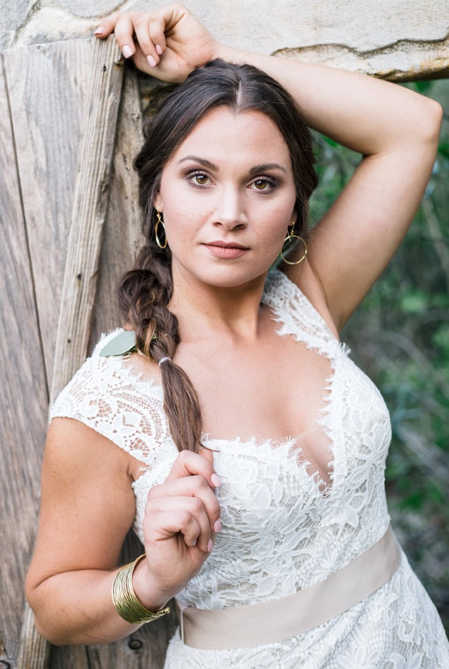 Stunning Bride with a long braid and a beautiful Lace Wedding Dress / from a Sunset Florida Wedding Styled Shoot / photo by Cristina Danielle Photography
